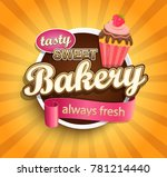 sweet bakery label with cupcake ... | Shutterstock . vector #781214440