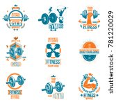 set of fitness theme emblems... | Shutterstock . vector #781220029