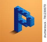 3d isometric letter p of the... | Shutterstock .eps vector #781230070
