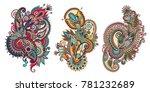 paisley flower pattern in... | Shutterstock .eps vector #781232689