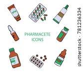 set pharmaceutical icons | Shutterstock .eps vector #781236334