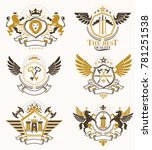 set of vintage emblems created... | Shutterstock . vector #781251538