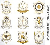 heraldic signs decorated with... | Shutterstock . vector #781251604