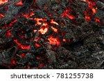 lava flame on black ash... | Shutterstock . vector #781255738