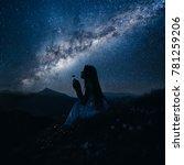 woman looking at beautiful... | Shutterstock . vector #781259206