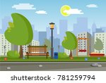 landscape of the city park.... | Shutterstock .eps vector #781259794