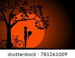 silhouette of a man under a...   Shutterstock .eps vector #781261009