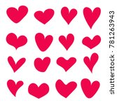 hand drawn hearts set isolated. ... | Shutterstock .eps vector #781263943