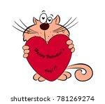 cat with heart in hands...   Shutterstock .eps vector #781269274