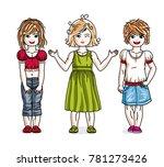 different little girls cute... | Shutterstock . vector #781273426