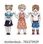 cute little girls group... | Shutterstock . vector #781273429
