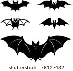 Cartoon Style Bats   Vector...