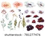 wedding bridal bouquet. green... | Shutterstock . vector #781277476