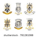 royal symbols lily flowers ... | Shutterstock . vector #781281088