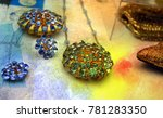 beautiful jewelry with blue... | Shutterstock . vector #781283350