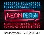 neon light alphabet  realistic... | Shutterstock .eps vector #781284130