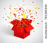 open red gift box and confetti. ... | Shutterstock .eps vector #781284340