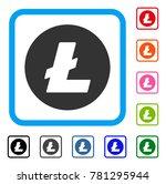 litecoin coin icon. flat grey...