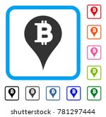 bitcoin marker icon. flat gray...