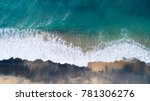 aerial view of waves and beach... | Shutterstock . vector #781306276