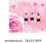 whitening lotion ads  floral... | Shutterstock .eps vector #781317859