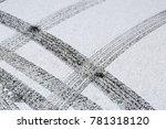 tire marks on white snow    Shutterstock . vector #781318120