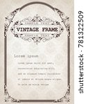 vintage frame with beautiful... | Shutterstock .eps vector #781322509
