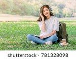 woman relax with headphones... | Shutterstock . vector #781328098