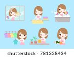 cute cartoon housewife do work... | Shutterstock .eps vector #781328434