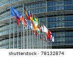Flags With European Parliament...