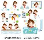 90's fashion women_housekeeping | Shutterstock .eps vector #781337398