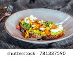 avocado toast with cherry... | Shutterstock . vector #781337590