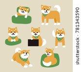 green scarf shiva dog various... | Shutterstock .eps vector #781343590