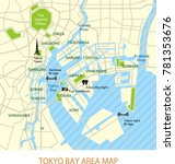 tokyo bay area map  english   | Shutterstock .eps vector #781353676