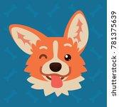 corgi dog emotional head.... | Shutterstock .eps vector #781375639