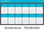 2018 calendar planner design. | Shutterstock .eps vector #781381600