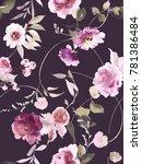 seamless summer pattern with... | Shutterstock . vector #781386484