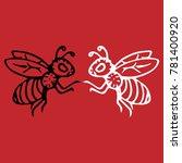 Flying Honey Bee. Striped...
