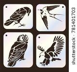 Set Of Stencils. Crow Bird ...