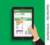 hand holding tablet.... | Shutterstock .eps vector #781401940