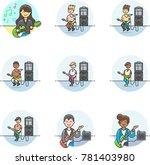 music  multicolor icon set   Shutterstock .eps vector #781403980