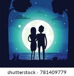 Silhouette Of Man And Woman In...