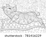 adult coloring book page a cute ... | Shutterstock .eps vector #781416229