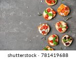 tasty bruschettas with tomatoes ... | Shutterstock . vector #781419688