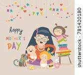 happy mother with her children | Shutterstock .eps vector #781420180