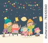 happy kids celebrating saint... | Shutterstock .eps vector #781420360