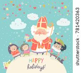 saint nicholas with piet and... | Shutterstock .eps vector #781420363