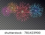 colorful fireworks isolated on... | Shutterstock .eps vector #781423900