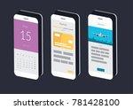 isometric smartphone... | Shutterstock .eps vector #781428100