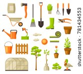 set of garden tools and items.... | Shutterstock .eps vector #781434553